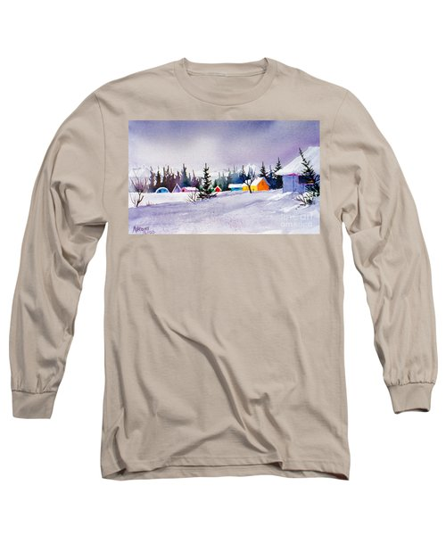 Long Sleeve T-Shirt featuring the painting Tyonek Village Impression by Teresa Ascone