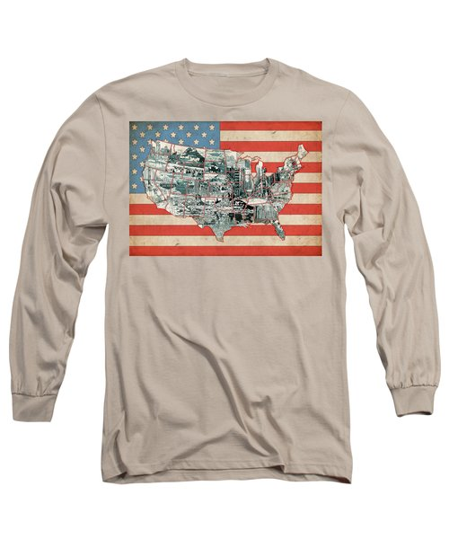 United States Flag Map Long Sleeve T-Shirt