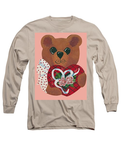 Long Sleeve T-Shirt featuring the painting Valentine Hug by Barbara McDevitt
