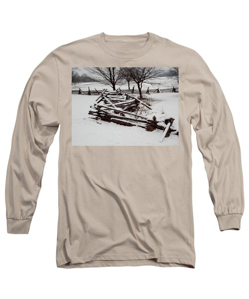 Long Sleeve T-Shirt featuring the photograph Valley Forge Snow by Michael Porchik
