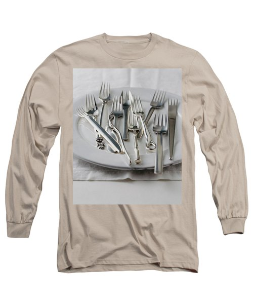 Various Forks On A Plate Long Sleeve T-Shirt