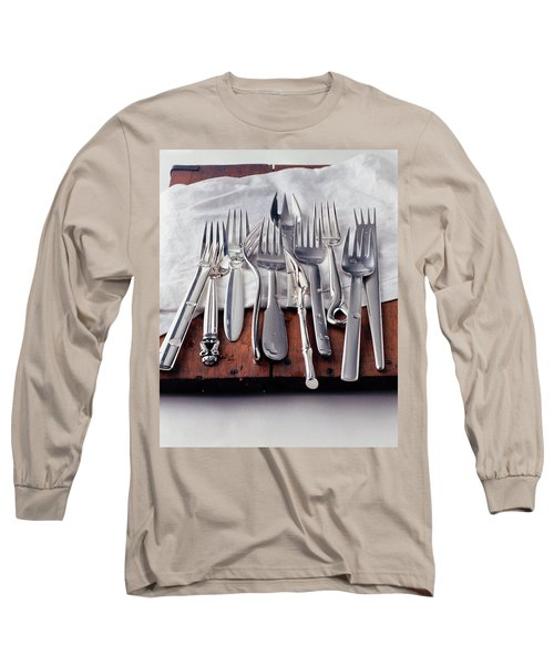 Various Forks On A Wooden Board Long Sleeve T-Shirt