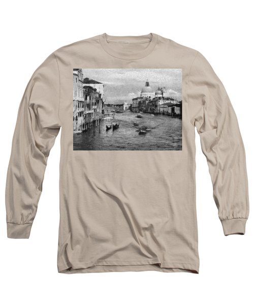 Vintage Venice Black And White Long Sleeve T-Shirt