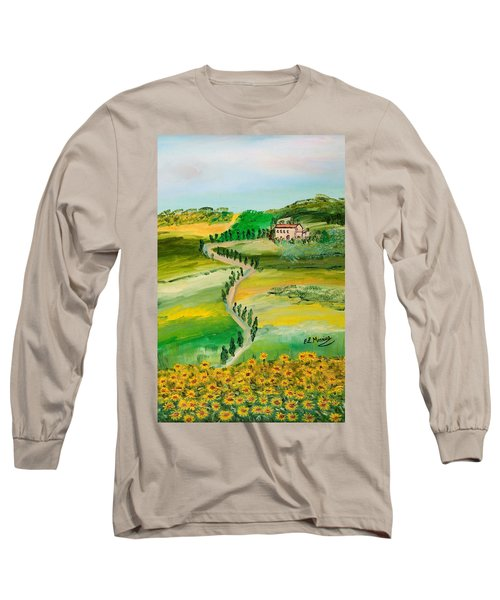 Long Sleeve T-Shirt featuring the painting Verde Sentiero by Loredana Messina