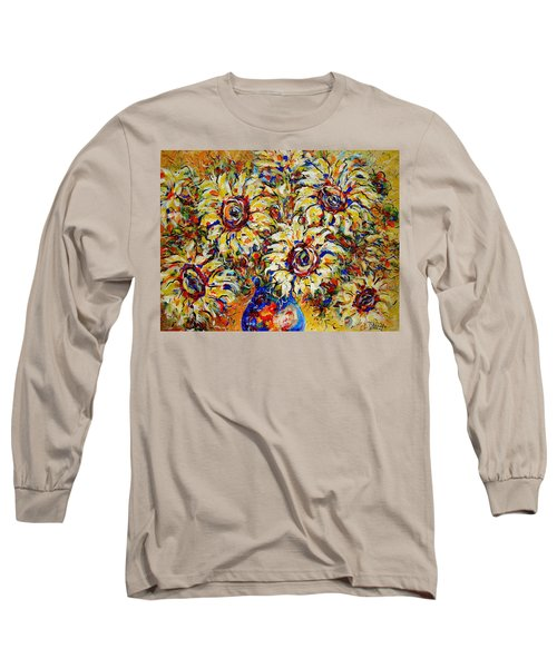 Long Sleeve T-Shirt featuring the painting Vibrant Sunflower Essence by Natalie Holland