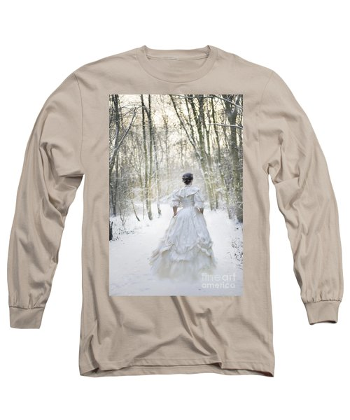 Victorian Woman Running Through A Winter Woodland With Fallen Sn Long Sleeve T-Shirt by Lee Avison