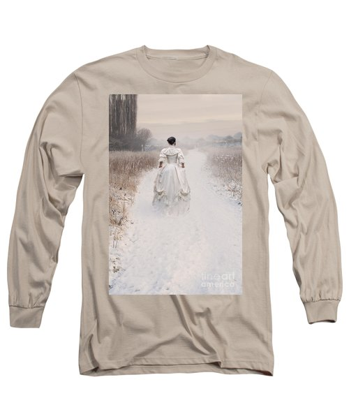 Victorian Woman Walking Through A Winter Meadow Long Sleeve T-Shirt by Lee Avison