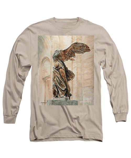 Victory Of Samothrace Long Sleeve T-Shirt by Joey Agbayani