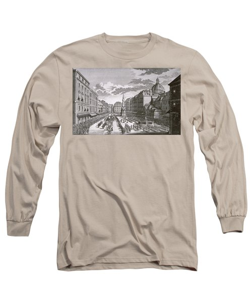 View Of A Procession In The Graben Engraved By Georg-daniel Heumann 1691-1759 Engraving Long Sleeve T-Shirt