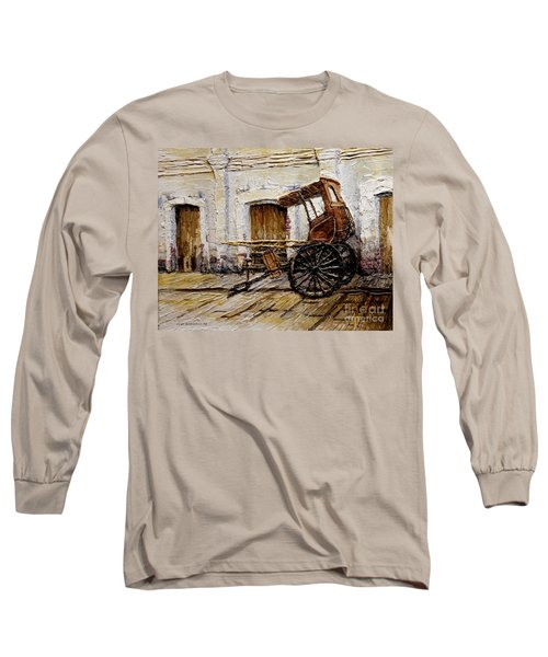 Long Sleeve T-Shirt featuring the painting Vigan Carriage 1 by Joey Agbayani