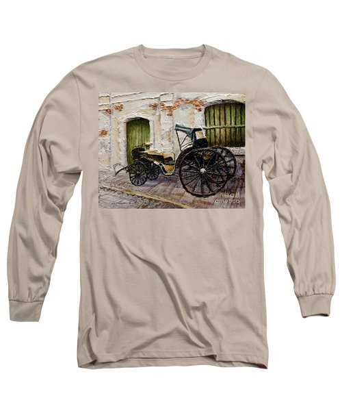 Long Sleeve T-Shirt featuring the painting Vigan Carriage 2 by Joey Agbayani