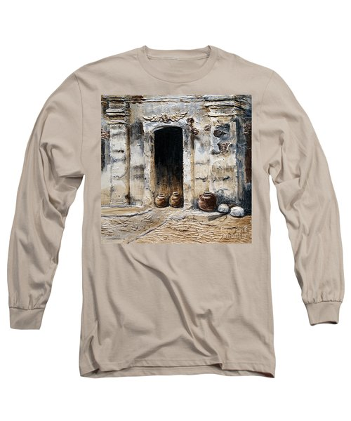Long Sleeve T-Shirt featuring the painting Vigan Door by Joey Agbayani