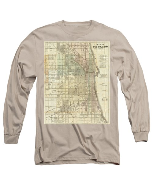 Vintage Map Of Chicago - 1857 Long Sleeve T-Shirt