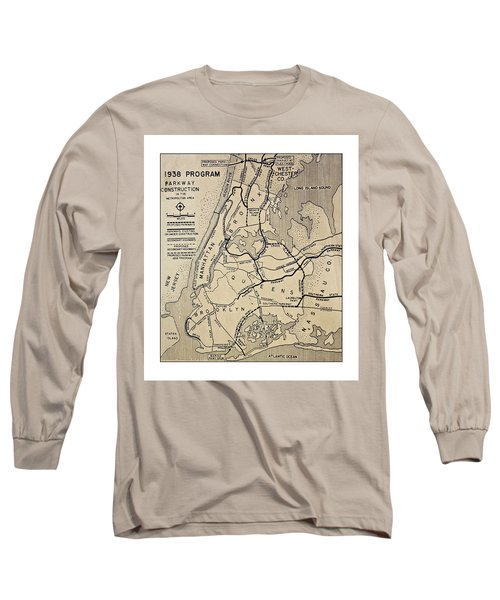Vintage Newspaper Map Long Sleeve T-Shirt