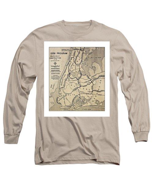 Vintage Newspaper Map Long Sleeve T-Shirt by Susan Leggett