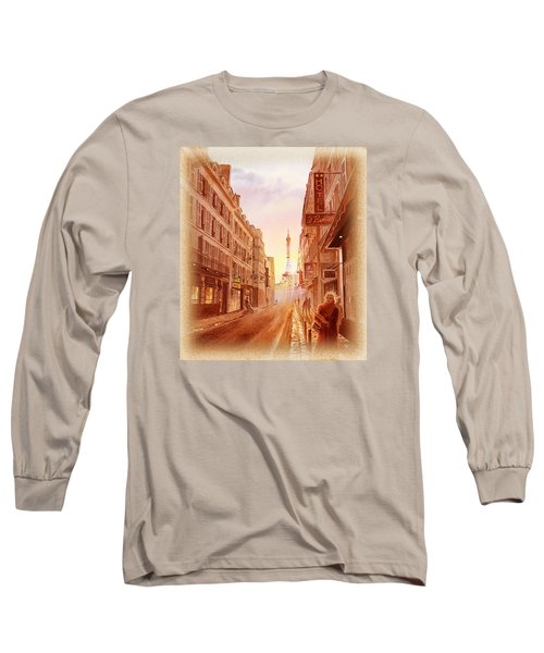 Vintage Paris Street Eiffel Tower View Long Sleeve T-Shirt by Irina Sztukowski