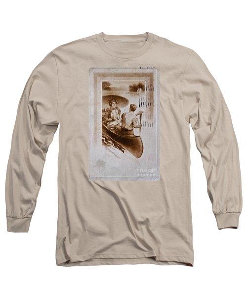 Vintage Post Card Of Couple In Boat Art Prints Long Sleeve T-Shirt by Valerie Garner