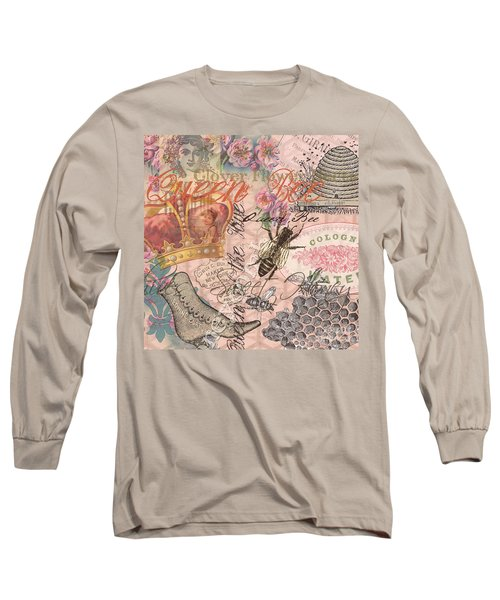 Vintage Queen Bee Collage  Long Sleeve T-Shirt
