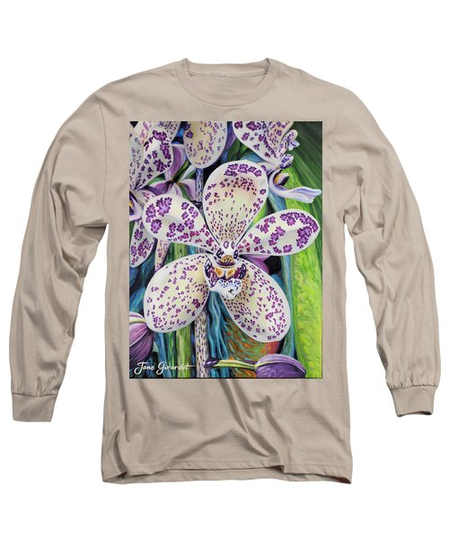 Violet Dotted Orchid Long Sleeve T-Shirt by Jane Girardot