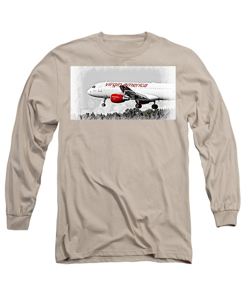 Airplane Long Sleeve T-Shirt featuring the photograph Virgin America Mach Daddy  by Aaron Berg