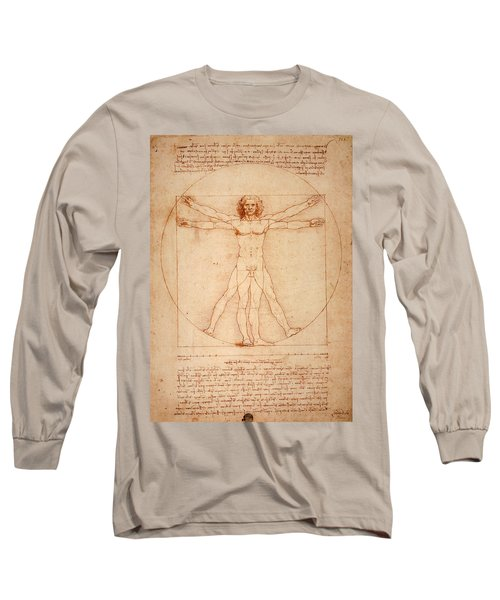 Long Sleeve T-Shirt featuring the digital art Vitruvian Man by Bill Cannon