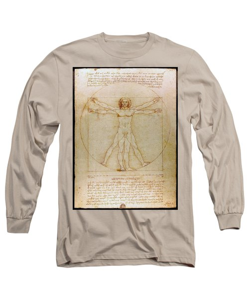 Long Sleeve T-Shirt featuring the drawing Vitruvian Man By Leonardo Da Vinci  by Karon Melillo DeVega