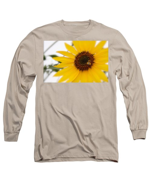 Long Sleeve T-Shirt featuring the photograph Vivid Sunflower With Bee Fine Art Nature Photography  by Jerry Cowart