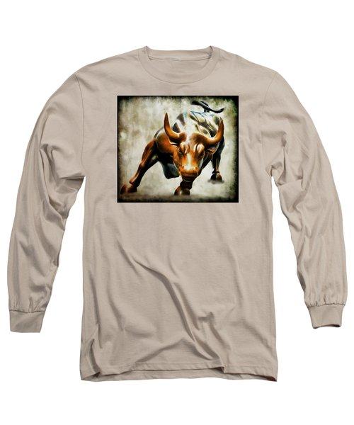 Wall Street Bull Long Sleeve T-Shirt by Athena Mckinzie
