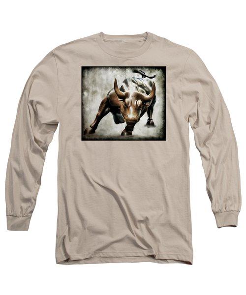 Wall Street Bull II Long Sleeve T-Shirt by Athena Mckinzie