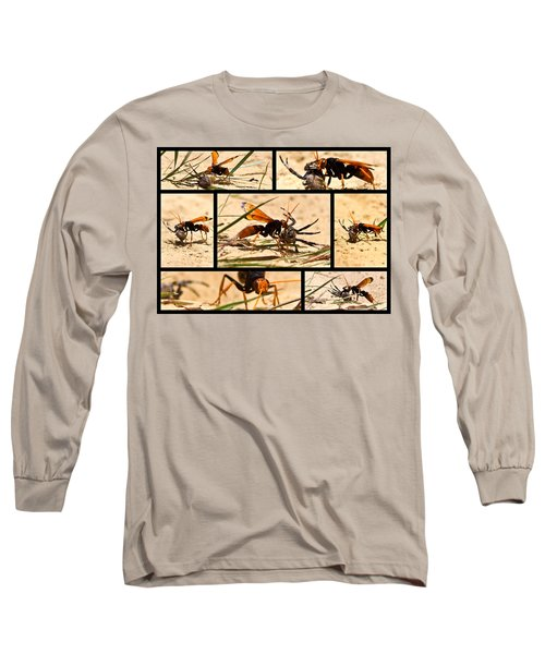 Long Sleeve T-Shirt featuring the photograph Wasp And His Kill by Miroslava Jurcik