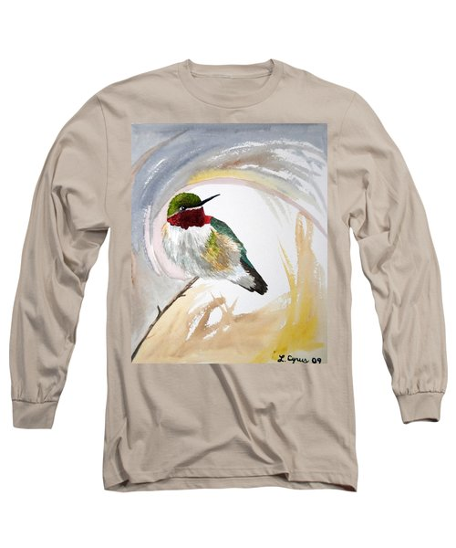Watercolor - Broad-tailed Hummingbird Long Sleeve T-Shirt