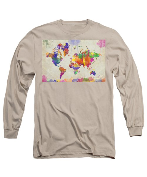 Watercolor Impression World Map Long Sleeve T-Shirt