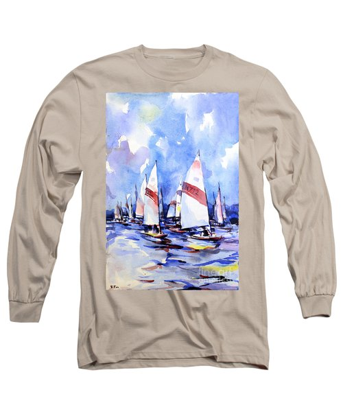 Watercolor Of Scow Boats Racing Torch Lake Mi Long Sleeve T-Shirt