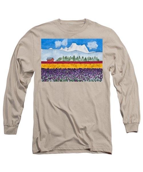 Watercolor Painting Landscape Of Skagit Valley Tulip Fields Art Long Sleeve T-Shirt by Valerie Garner