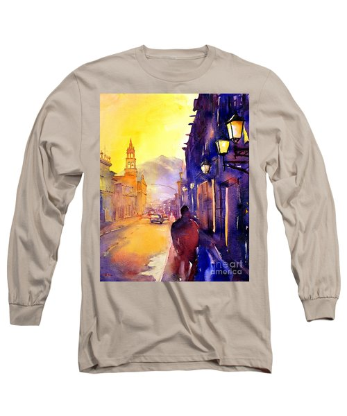 Watercolor Painting Of Street And Church Morelia Mexico Long Sleeve T-Shirt