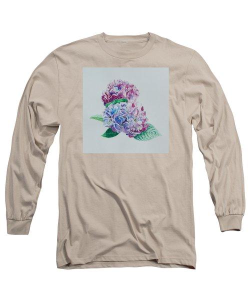 Watercolored Hydrangea Long Sleeve T-Shirt