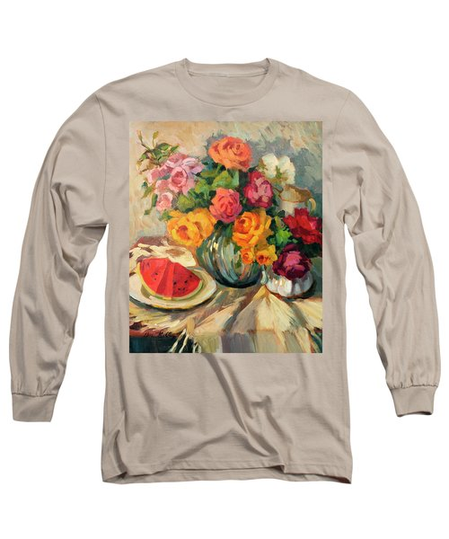 Watermelon And Roses Long Sleeve T-Shirt by Diane McClary