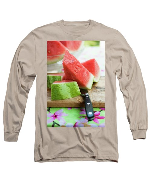 Watermelon, Cut Into Pieces, On A Wooden Board Long Sleeve T-Shirt