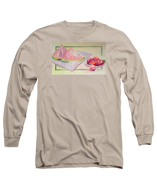 Watermelon Long Sleeve T-Shirt by Marilyn Zalatan