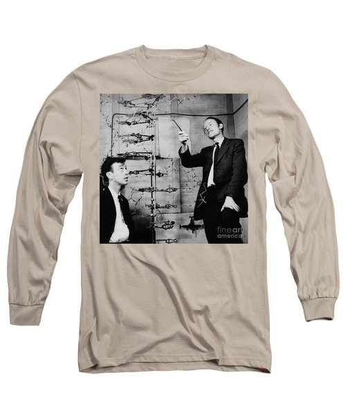 Watson And Crick With Dna Model Long Sleeve T-Shirt