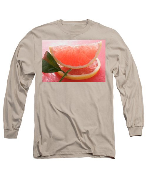Wedge Of Pink Grapefruit On Slice Of Grapefruit With Leaf Long Sleeve T-Shirt