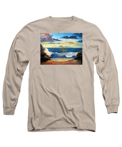 Long Sleeve T-Shirt featuring the painting West Coast Sunset by Lee Piper