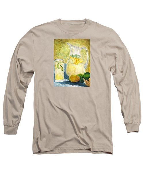 Long Sleeve T-Shirt featuring the painting When Life Gives You Lemons by Angela Davies