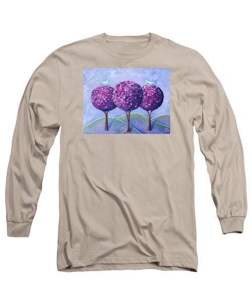Long Sleeve T-Shirt featuring the painting When The Cherry Trees Are Blooming by Nina Mitkova