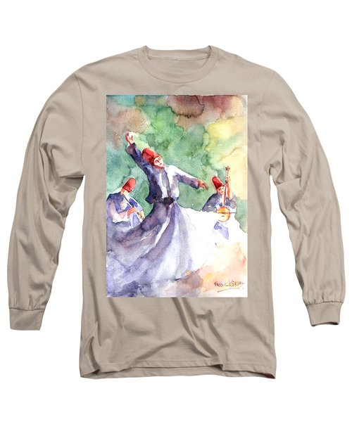 Long Sleeve T-Shirt featuring the painting Whirling Dervishes by Faruk Koksal