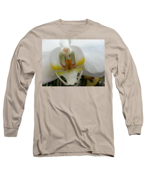 White And Yellow Orchid Long Sleeve T-Shirt by Caryl J Bohn
