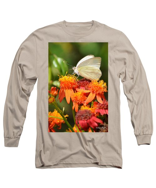 White Butterfly On Mexican Flame Long Sleeve T-Shirt by Debra Martz