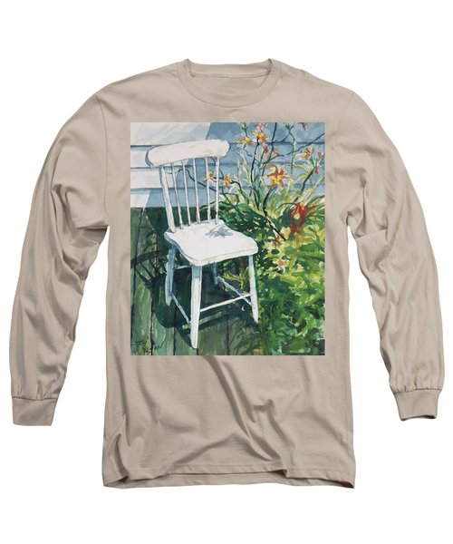 Long Sleeve T-Shirt featuring the painting White Chair And Day Lilies by Joy Nichols