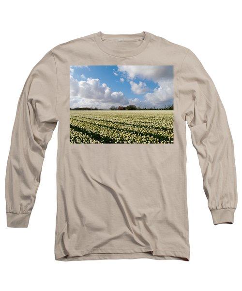 Long Sleeve T-Shirt featuring the photograph White Field by Luc Van de Steeg