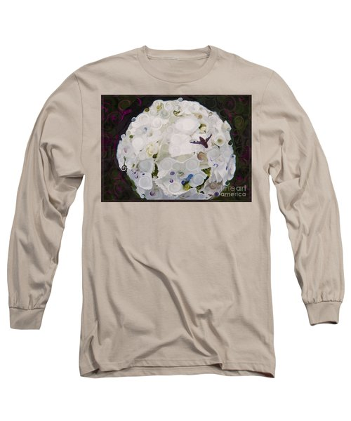 White Flower And Friendly Bee Mixed Media Painting Long Sleeve T-Shirt